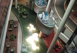 View down into foyer of hotel