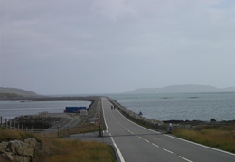 Looking back from north end of Causeway that joins South Uist to Eriskay. Barra ferry runs into Eriskay.