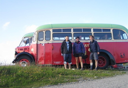 Jack, Nigel and Mo in front of bus. Jack was a Manc who we met on the Barra - Eriskay ferry and rode with for a few days.