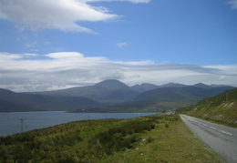 Road from Tarbert up towards Lewis. Harris has the first proper 'mountains' we saw.
