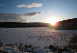 View over a frozen Loch Peallach