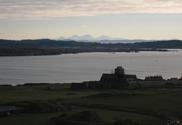 View over abbey towards the Paps on Jura