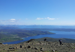 View South East Up Loch's Hourn and Nevis. Peninsular between them is Knoydart