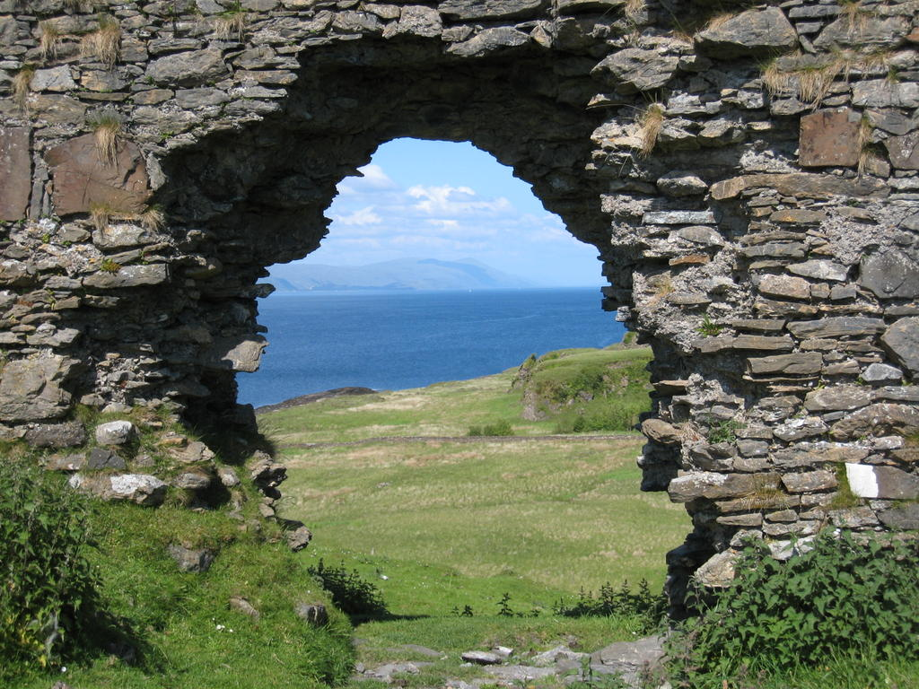 View of Loch Linnie through ruins of Achadun Castle