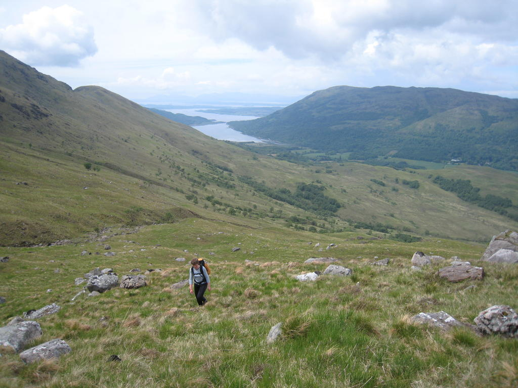 Climbing the slopes of Beinn Sgulaird. Loch Creran behind